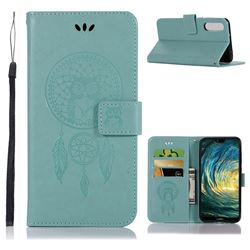 Intricate Embossing Owl Campanula Leather Wallet Case for Huawei P20 Pro - Green