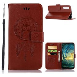 Intricate Embossing Owl Campanula Leather Wallet Case for Huawei P20 Pro - Brown