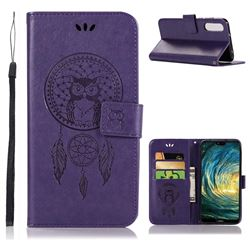 Intricate Embossing Owl Campanula Leather Wallet Case for Huawei P20 Pro - Purple