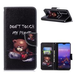 Chainsaw Bear Leather Wallet Case for Huawei P20 Pro