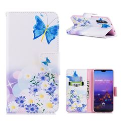 Butterflies Flowers Leather Wallet Case for Huawei P20 Pro