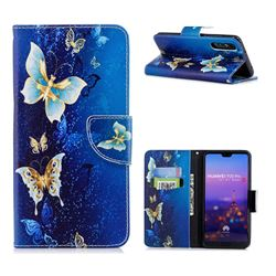 Golden Butterflies Leather Wallet Case for Huawei P20 Pro