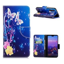 Yellow Flower Butterfly Leather Wallet Case for Huawei P20 Pro
