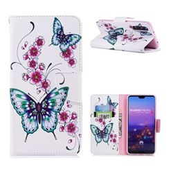 Peach Butterflies Leather Wallet Case for Huawei P20 Pro