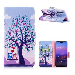 Tree and Owls Leather Wallet Case for Huawei P20 Pro