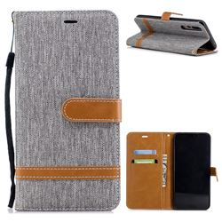 Jeans Cowboy Denim Leather Wallet Case for Huawei P20 Pro - Gray