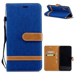 Jeans Cowboy Denim Leather Wallet Case for Huawei P20 Pro - Sapphire