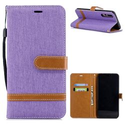 Jeans Cowboy Denim Leather Wallet Case for Huawei P20 Pro - Purple