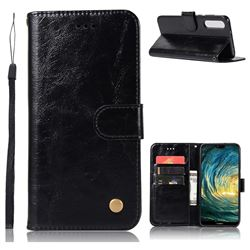 Luxury Retro Leather Wallet Case for Huawei P20 Pro - Black