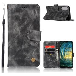 Luxury Retro Leather Wallet Case for Huawei P20 Pro - Gray