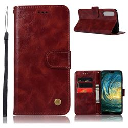 Luxury Retro Leather Wallet Case for Huawei P20 Pro - Wine Red
