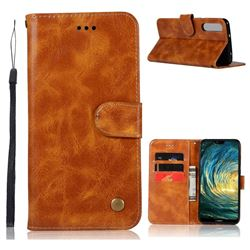 Luxury Retro Leather Wallet Case for Huawei P20 Pro - Golden