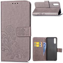 Embossing Imprint Four-Leaf Clover Leather Wallet Case for Huawei P20 Pro - Grey