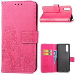 Embossing Imprint Four-Leaf Clover Leather Wallet Case for Huawei P20 Pro - Rose