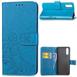 Embossing Imprint Four-Leaf Clover Leather Wallet Case for Huawei P20 Pro - Blue