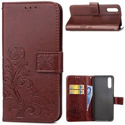 Embossing Imprint Four-Leaf Clover Leather Wallet Case for Huawei P20 Pro - Brown