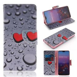 Heart Raindrop PU Leather Wallet Case for Huawei P20 Pro