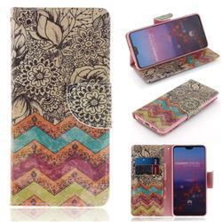 Wave Flower PU Leather Wallet Case for Huawei P20 Pro