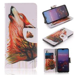 Color Wolf PU Leather Wallet Case for Huawei P20 Pro