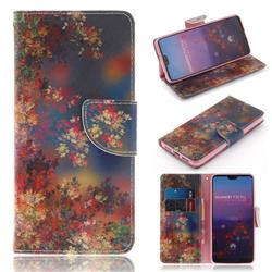 Colored Flowers PU Leather Wallet Case for Huawei P20 Pro
