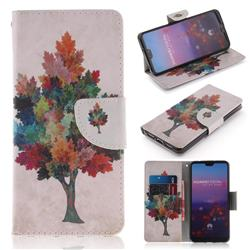Colored Tree PU Leather Wallet Case for Huawei P20 Pro