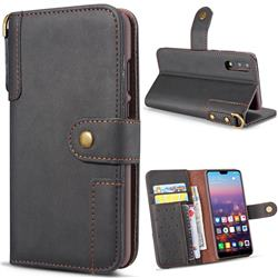 Retro Luxury Cowhide Leather Wallet Case for Huawei P20 Pro - Black