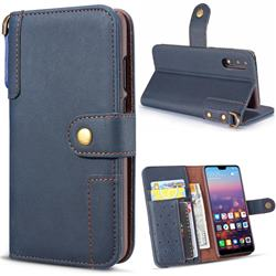 Retro Luxury Cowhide Leather Wallet Case for Huawei P20 Pro - Blue