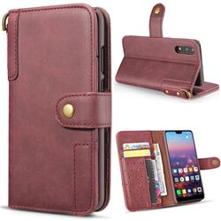 Retro Luxury Cowhide Leather Wallet Case for Huawei P20 Pro - Wine Red