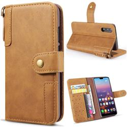 Retro Luxury Cowhide Leather Wallet Case for Huawei P20 Pro - Brown