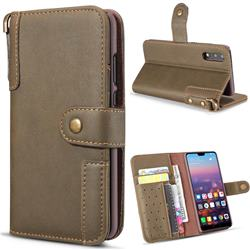 Retro Luxury Cowhide Leather Wallet Case for Huawei P20 Pro - Coffee