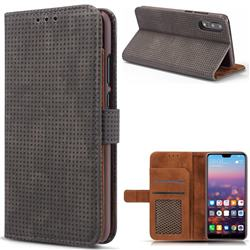 Luxury Vintage Mesh Monternet Leather Wallet Case for Huawei P20 Pro - Black
