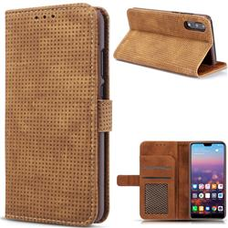 Luxury Vintage Mesh Monternet Leather Wallet Case for Huawei P20 Pro - Brown