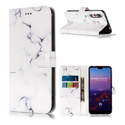 Soft White Marble PU Leather Wallet Case for Huawei P20 Pro