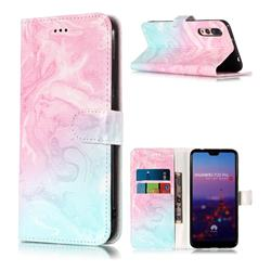 Pink Green Marble PU Leather Wallet Case for Huawei P20 Pro