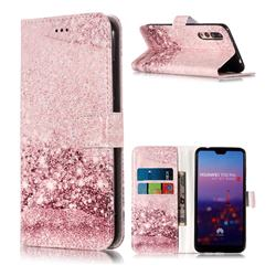 Glittering Rose Gold PU Leather Wallet Case for Huawei P20 Pro