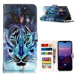 Ice Wolf 3D Relief Oil PU Leather Wallet Case for Huawei P20 Pro