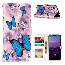 Purple Flowers Butterfly 3D Relief Oil PU Leather Wallet Case for Huawei P20 Pro