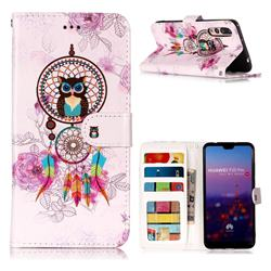 Wind Chimes Owl 3D Relief Oil PU Leather Wallet Case for Huawei P20 Pro