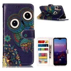 Folk Owl 3D Relief Oil PU Leather Wallet Case for Huawei P20 Pro