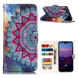 Mandala Flower 3D Relief Oil PU Leather Wallet Case for Huawei P20 Pro
