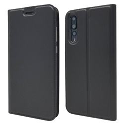 Ultra Slim Card Magnetic Automatic Suction Leather Wallet Case for Huawei P20 Pro - Star Grey