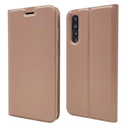 Ultra Slim Card Magnetic Automatic Suction Leather Wallet Case for Huawei P20 Pro - Rose Gold