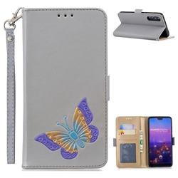 Imprint Embossing Butterfly Leather Wallet Case for Huawei P20 Pro - Grey