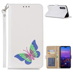 Imprint Embossing Butterfly Leather Wallet Case for Huawei P20 Pro - White