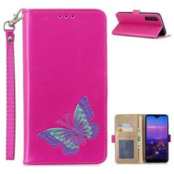 Imprint Embossing Butterfly Leather Wallet Case for Huawei P20 Pro - Rose Red