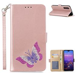 Imprint Embossing Butterfly Leather Wallet Case for Huawei P20 Pro - Rose Gold