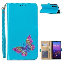 Imprint Embossing Butterfly Leather Wallet Case for Huawei P20 Pro - Sky Blue