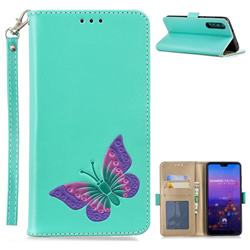 Imprint Embossing Butterfly Leather Wallet Case for Huawei P20 Pro - Mint Green