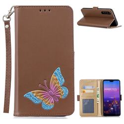 Imprint Embossing Butterfly Leather Wallet Case for Huawei P20 Pro - Brown