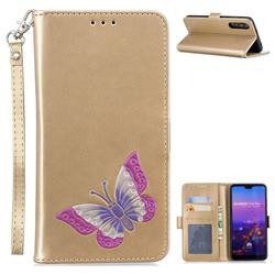 Imprint Embossing Butterfly Leather Wallet Case for Huawei P20 Pro - Golden